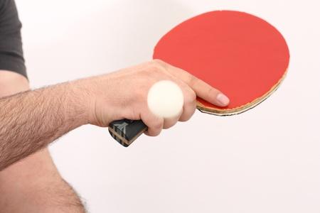 backhand: jugando tenis de mesa con el rev�s Foto de archivo