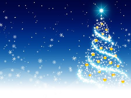 blue xmas tree background Stock Photo - 5798315