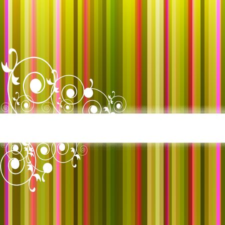 pinstripe: Flora frame on colorful stripe background