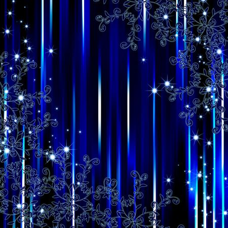 Abstract blue stripe flora frame background photo