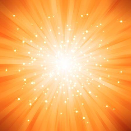 Orange golden light burst with stars photo