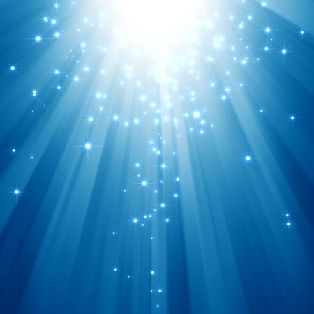 glimmer: Blue light beams with glitter stars