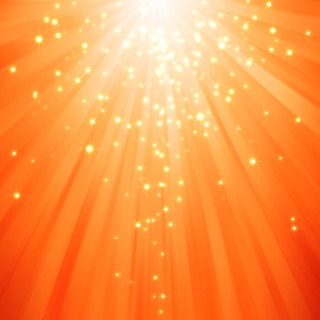 descending: glitter stars descending on beams of light Stock Photo