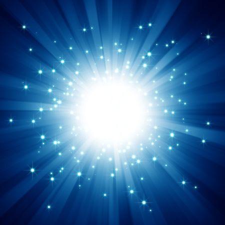 light burst: Blue light Burst mit Sternen