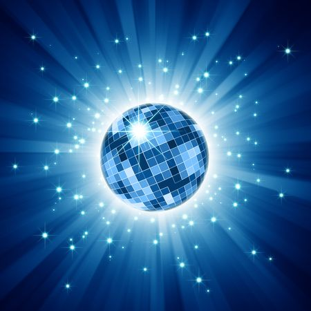 Sparkling disco ball on blue light burst and glitter stars photo