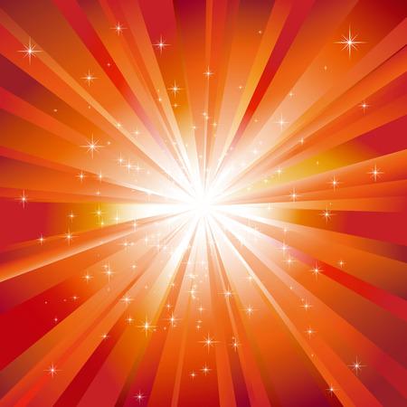 light burst: Funkelnde Sterne auf gl�nzenden orange LED burst-Hintergrund