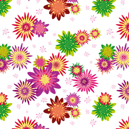 novae: An illustration colorful floral seamless pattern wallpaper