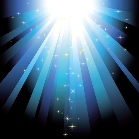 Blue light beams with glitter stars background Stock Vector - 6157568