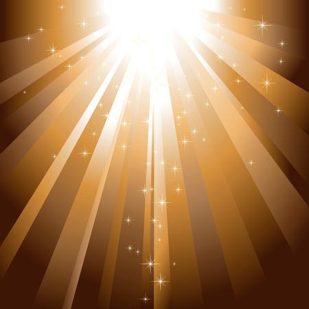Sparkling stars descending on golden light burst Vector