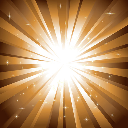 Sparkling stars on shiny golden light burst background
