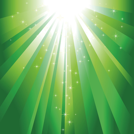 glitter stars descending on green light burst Stock Vector - 6157578