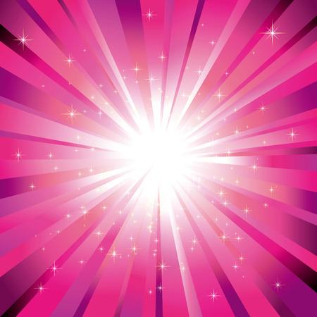light burst: Funkelnde Sterne auf gl�nzenden Magenta light Burst-Hintergrund