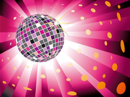 Sparkling disco ball on magenta light burst background Vector