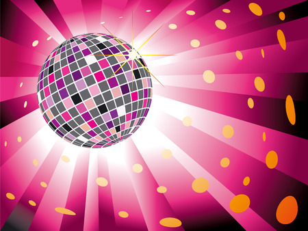 Sparkling disco ball on magenta light burst background Vector