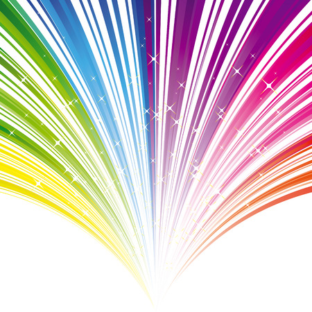 Abstract rainbow color stripe background with stars
