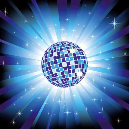 Sparkling disco ball on blue light burst and glitter stars Vector