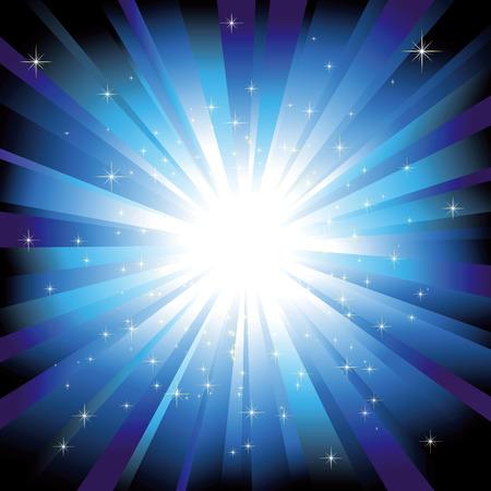 Blue light burst with sparkling stars Vector