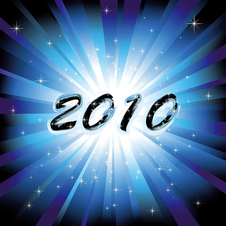 New year 2010 on blue burst background Stock Vector - 6168983