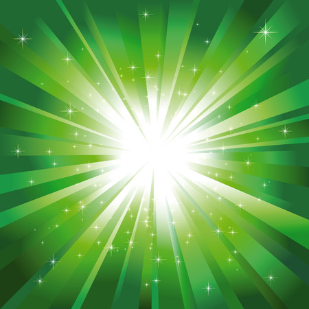 light burst: Gr�nes Licht-Burst mit funkelnden Sterne
