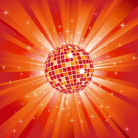 Sparkling disco ball on orange light burst and glitter stars Stock Vector - 6168980