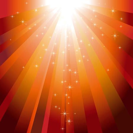 descending: glitter stars descending on sparkling orange light burst Illustration