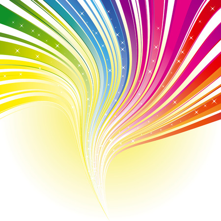 Abstract rainbow color stripe background with stars Vector