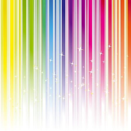Abstract regenboog gekleurde streep achtergrond met sterren  Vector Illustratie