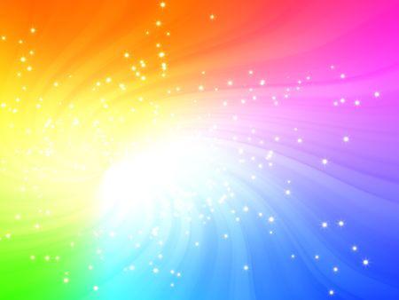 light burst: Funkelnde Regenbogenfarben Licht platzen mit Sternen