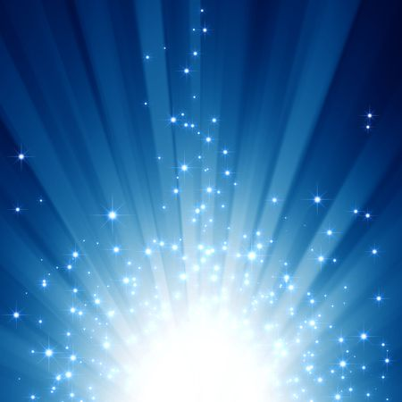 star path: Blue light beams with glitter stars