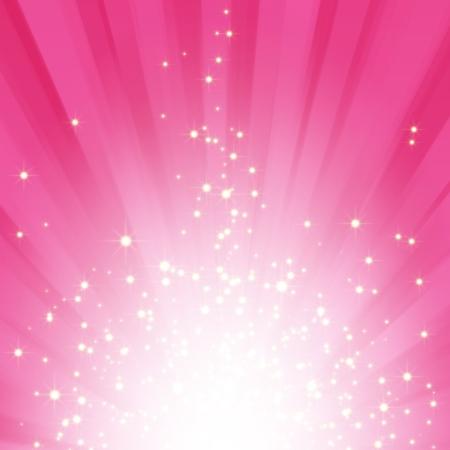 Sparkling stars on pink magenta light burst background