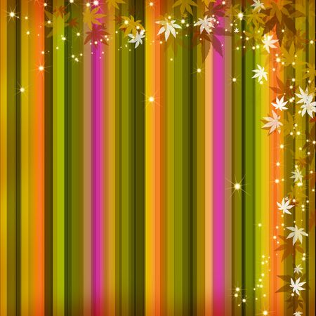 Autumn leaves stripe background photo