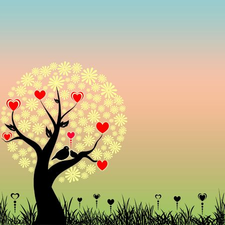 Abstract love birds and red hearts on yellow flowers tree photo