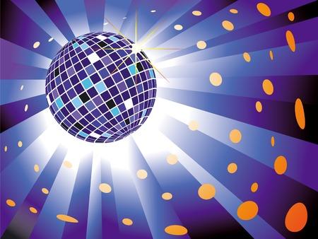 Sparkling disco ball on blue light burst background Vector