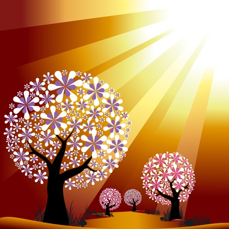 Abstract trees on golden burst light background Vector