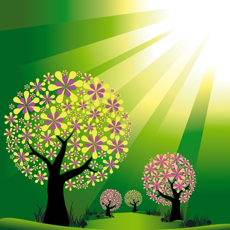 Abstract trees on green light burst background Vector