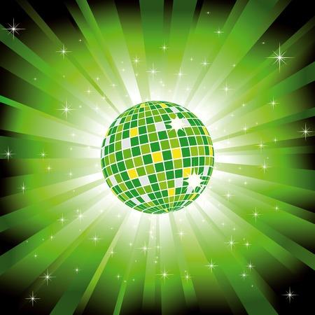 Sparkling disco ball on green light burst and glitter stars Vector