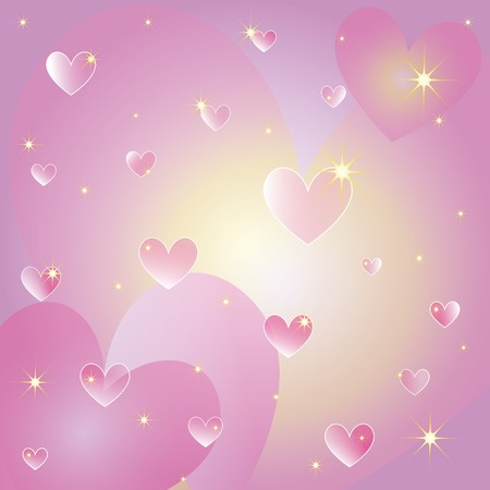 St valentine hearts and sparkling stars greeting card