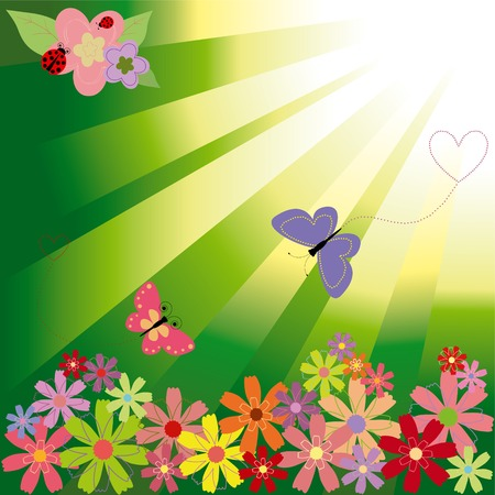 Springtime flowers & butterflies on green light background Stock Vector - 6368266