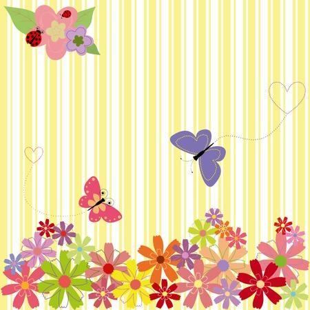 butterfly ladybird: Flores de primavera & mariposas sobre fondo de franja amarilla