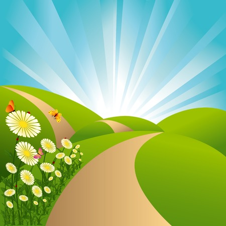 path: Spring landscape green fields blue sky flowers and butterflies Illustration