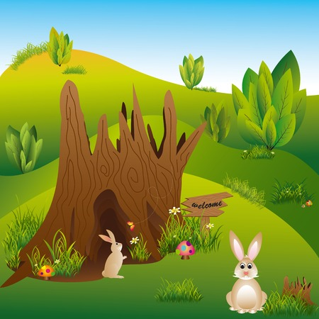 Abstract springtime easter holiday hares in the wonderland Vector