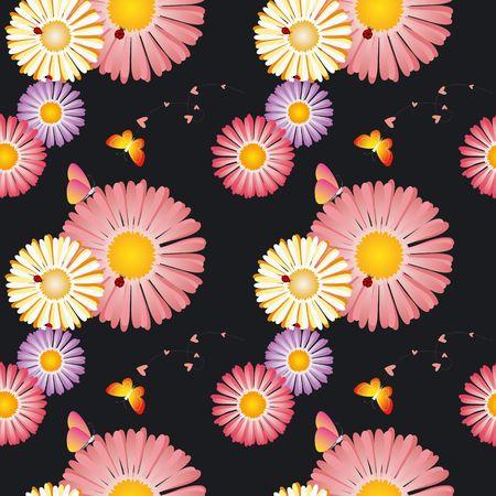Springtime flowers butterflies ladybirds seamless pattern photo