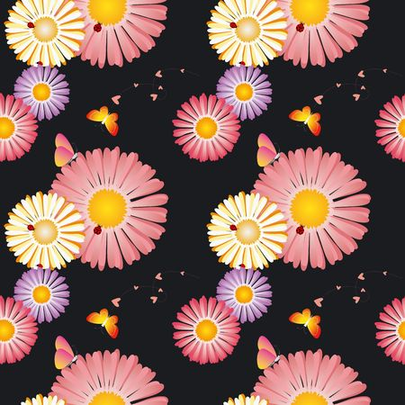 Springtime flowers butterflies ladybirds seamless pattern photo