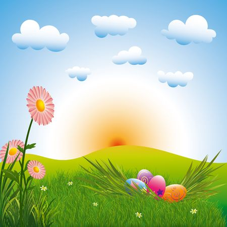 Springtime easter holiday colorful easter eggs with flowers Stock Photo - 6636722