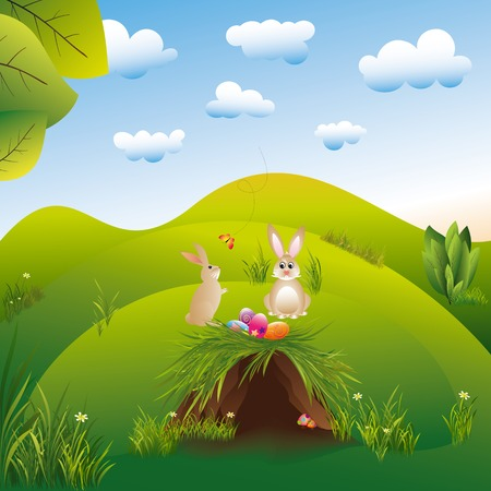 idyll: Springtime easter holiday landspace hares in the wonderland