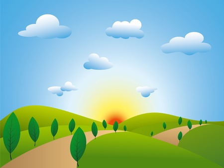Springtime landscape green fields trees with blue sky Vector