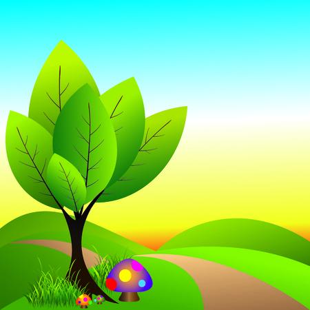Wonderland abstraite de printemps avec arborescence et champignons