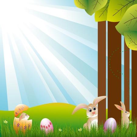 Springtime easter holiday happy bunnies play around Vector