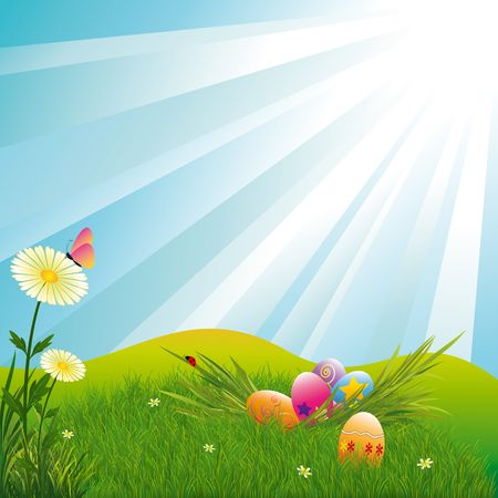 pink hills: Easter holiday colorful easter eggs blue light burst background Stock Photo