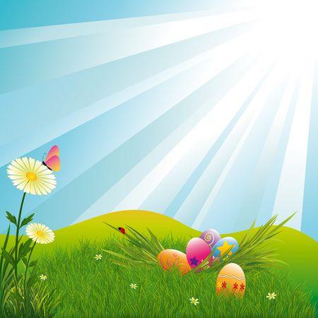 pascuas navide�as: Fondo de r�faga de luz azul de huevos de Pascua Pascua vacaciones multicolor